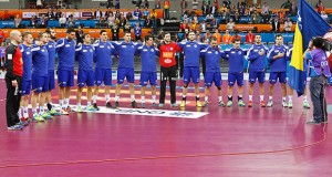 The team of Bosnia before the Qatar 2015 24th Men's Handball World Championship match between Bosnia & Herzegovina and Macedonia at the Ali Bin Hamad Al Attiya Arena in Al Sadd, Doha, Qatar, 19 January 2015. Qatar 2015 via epa/Fehim Demir