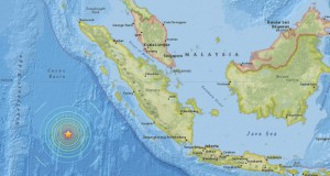 epa05190483 A screenshot of an interactive map provided on the website of the US Geological Survey (USGS) on 02 March 2016 shows the location of an earthquake in a depth of about 10 kilometers southwest of Sumatra, Indonesia, at 12:49:46 UTC, 02 March 2016.  EPA/US GEOLOGICAL SURVEY/HANDOUT  HANDOUT EDITORIAL USE ONLY
