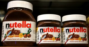 SAN FRANCISCO, CA - AUGUST 18: Jars of Nutella are displayed on a shelf at a market on August 18, 2014 in San Francisco, California. The threat of a Nutella shortage is looming after a March frost in Turkey destroyed nearly 70 percent of the hazelnut crops, the main ingredient in the popular chocolate spread. Turkey is the largest producer of hazelnuts in the world.   Justin Sullivan/Getty Images/AFP