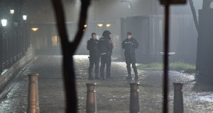 """Police block off the area around the US Embassy in Montenegro's capital Podgorica on February 22, 2018. An unknown attacker blew themself up after throwing a suspected grenade into the embassy compound in Podgorica, the Montenegrin government said Thursday. """"In front of the @USEmbassyMNE building in #Podgorica, #Montenegro an unknown person committed suicide with an explosive device. Immediately before, that person threw an explosive device,"""" the official government account tweeted, adding that the device was """"most probably"""" a hand grenade.  / AFP PHOTO / AFP-Services / SAVO PRELEVIC"""