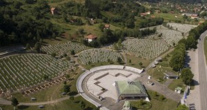 An areal view of memorial center in Potocari near Srebrenica, 150 kms north east of Sarajevo, Bosnia, on Wednesday, July 8,2015. The memorial center in Potocari, is a cemetery for victims of Srebrenica  massacre who were killed in the summer of 1995 during the worst atrocity on European soil since the Second World War.(AP Photo/Amel Emric)