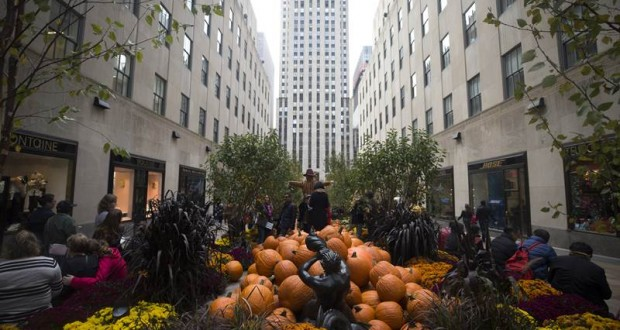 NEW YORK, USA - OCTOBER 19: The Rockefeller Center Channel Gardens are transformed into a pumpkin patch garden in New York, United States on October 19, 2018. ( Atılgan Özdil - Anadolu Agency )