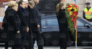 "BERLIN, GERMANY - NOVEMBER 18: German Chancellor Angela Merkel (L), German President Frank-Walter Steinmeier (3rd L), French President Emmanuel Macron (2nd L) arrive for a wreath laying ceremony at the Neue Wache Memorial to mark ""Day of National Mourning"" for victims of war and tyranny in Berlin, Germany on November 18, 2018.  ( Anadolu Agency - Abdülhamid Hoşbaş )"