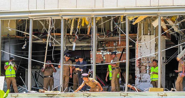 COLOMBO, SRI LANKA - APRIL 21: Security forces inspect the scene after a blast targeting Shangri La hotel in Colombo, Sri Lanka on April 21, 2019. At least 138 people were killed in multiple blasts targeting churches and hotels across Sri Lanka.  ( Chamila Karunarathne - Anadolu Agency )